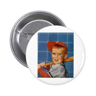 Baseball game boy dog pinback button