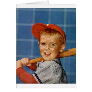 Baseball game, boy,dog card