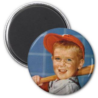 Baseball game, boy,dog magnets