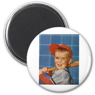 Baseball game, boy,dog refrigerator magnets
