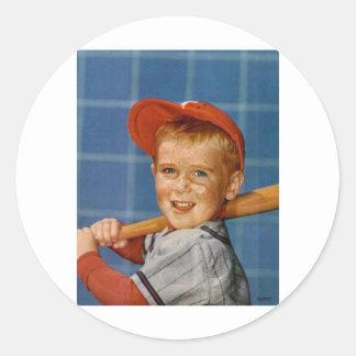Baseball game, boy,dog round stickers