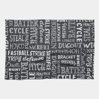 Baseball Game Chalkboard Words And Terms Tea Towel