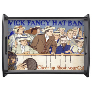 Baseball Game Fans Catcher Cheer Up Serving Tray
