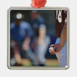 Baseball Game Silver-Colored Square Decoration
