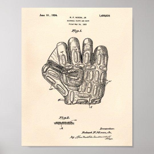 Baseball Glove 1924 Patent Art - Old Peper Poster