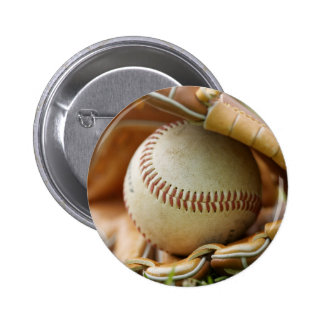 Baseball Glove and Ball 6 Cm Round Badge