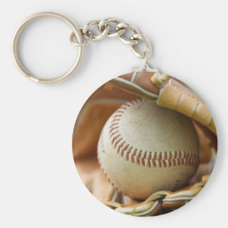 Baseball Glove and Ball Basic Round Button Key Ring