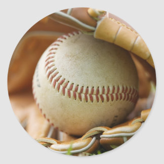 Baseball Glove and Ball Classic Round Sticker