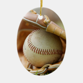 Baseball Glove and Ball Double-Sided Oval Ceramic Christmas Ornament