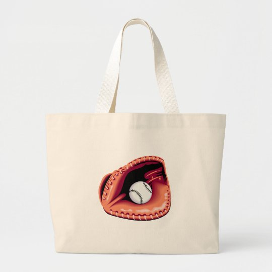 Baseball Glove and Ball Large Tote Bag