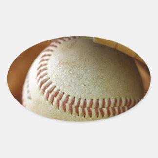 Baseball Glove and Ball Oval Sticker