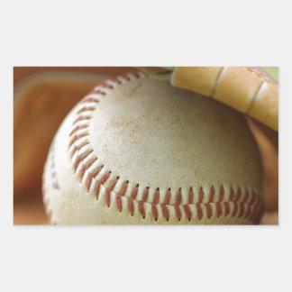 Baseball Glove and Ball Rectangular Sticker