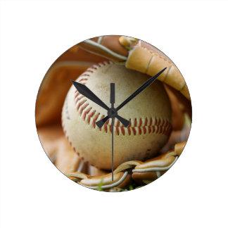 Baseball Glove and Ball Round Clock