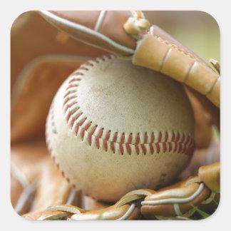 Baseball Glove and Ball Square Sticker
