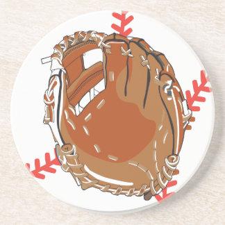 baseball glove and baseball vector design coaster