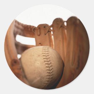 Baseball Glove & Ball Round Sticker