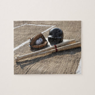 Baseball glove, balls, bats and baseball helmet jigsaw puzzle