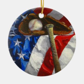 Baseball, glove, bat & American flag Christmas Ornament