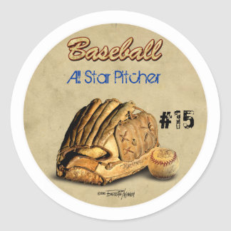 Baseball Glove - brown leather Classic Round Sticker