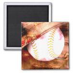 Baseball & Glove Grunge Style Refrigerator Magnet
