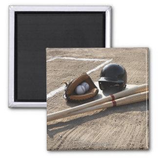 Baseball Glove Square Magnet