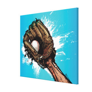 Baseball glove with base ball canvas prints