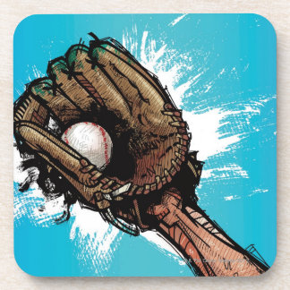 Baseball glove with base ball drink coasters