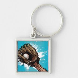 Baseball glove with base ball keychain