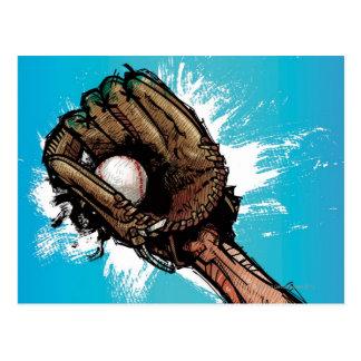 Baseball glove with base ball postcard