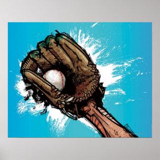 Baseball glove with base ball poster