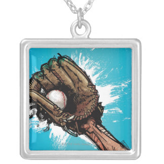 Baseball glove with base ball square pendant necklace