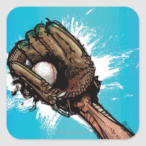 Baseball glove with base ball square stickers