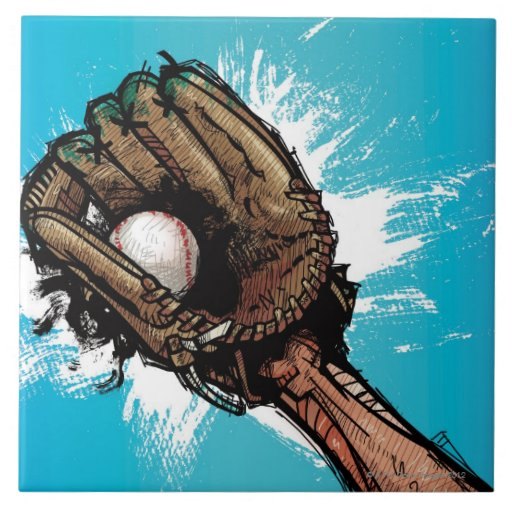 Baseball glove with base ball ceramic tiles