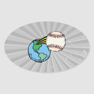 baseball going out of this world oval sticker