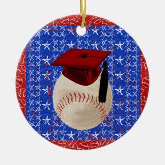 Baseball Graduation Cap, Stars, Red, White, Blue Christmas Ornament