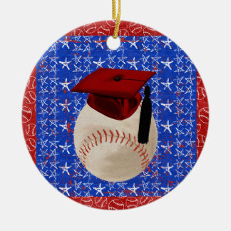 Baseball Graduation Cap, Stars, Red, White, Blue Round Ceramic Decoration