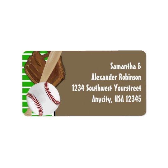 Baseball Green/Brown Address Label
