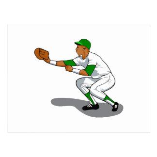 Baseball green player postcard