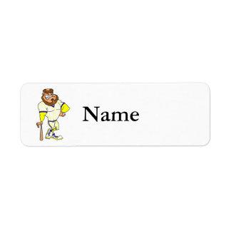 Baseball guy return address label