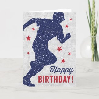 Baseball Happy Birthday card with running boy