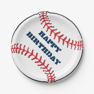 Baseball Happy Birthday - Paper Plates 7 Inch Paper Plate