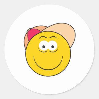 Baseball Hat Smiley Face Round Sticker