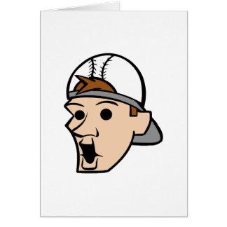 Baseball Head Man Note Card