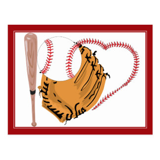 Baseball Heart Text Postcards