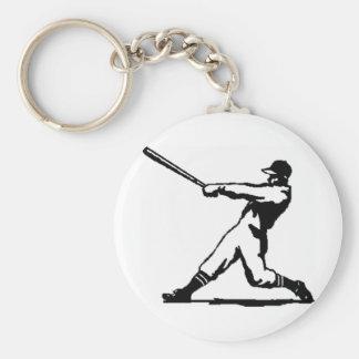 Baseball hitting basic round button key ring