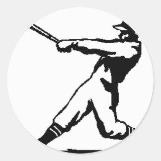 Baseball hitting round sticker