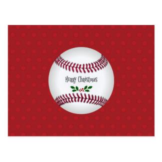 Baseball Holiday Design, Merry Christmas Postcard