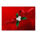 Baseball Holly Christmas Greeting Card