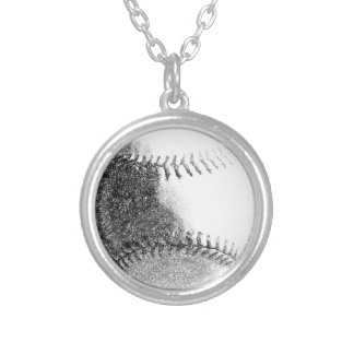 BASEBALL IMPRESSION SILVER PLATED NECKLACE