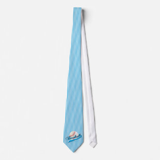 Baseball in Baby Blue and White Stripes Tie